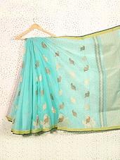 Paisley Print Turquoise Art Silk Saree - Prabha Creations