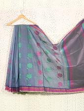 Floral Print Smokey Blue Art Silk Saree - Prabha Creations