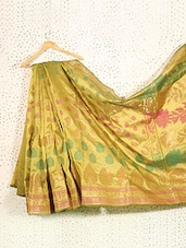 Mehendi Green Art Silk And Zari Banarasi Saree - Prabha Creations