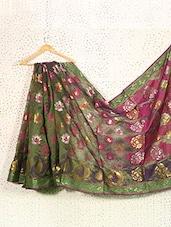 Mehendi Green Art Silk And Zari Banarasi Saree - Prabha Creations