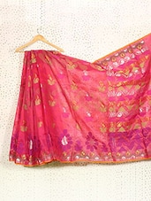 Dark Pink Art Silk And Zari Banarasi Saree - Prabha Creations