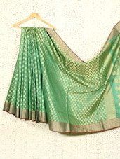 Bottle Green Art Silk And Cotton Banarasi Saree - Prabha Creations