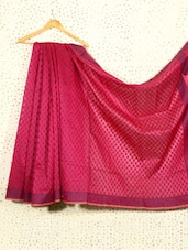 Magenta Jacquard Art Silk And Cotton Saree - Prabha Creations