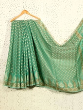 Pistachio Green Jacquard Art Silk And Cotton Saree - Prabha Creations