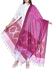 Dark Pink Jacquard Chanderi Dupatta - By