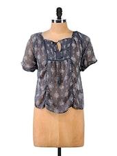 Short Sleeve Printed Polyester Top - Mishka