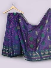Purple Woven Floral Cotton Silk Saree - WEAVING ROOTS