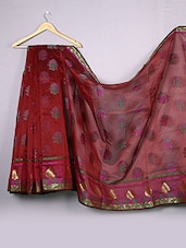 Dark Red Floral Cotton Silk Saree - WEAVING ROOTS