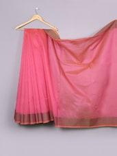 Plain Pink Pattli Cotton Silk Saree - WEAVING ROOTS