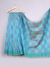 Turquoise Blue Geometric Cotton Silk Saree - WEAVING ROOTS