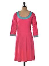 Pink Color Rayon Round Neck Kurta - LINGRA