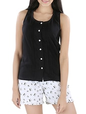Pintuck Cotton Top & Printed Shorts - Nite Flite