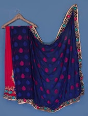 Magenta And Navy Blue Georgette Saree - Anoha