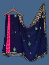 Navy Blue Georgette Saree - Anoha