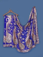 Sequin Embellished Royal Blue Georgette Saree - Anoha