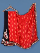 Black And Red Art Crepe And Georgette Saree - Anoha