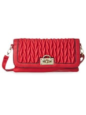 Red Textured Leatherette Sling Bag - Cappuccino