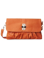Tan Textured Leatherette Sling Bag - Cappuccino