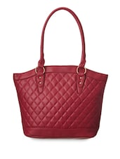 Wine Quilted Leatherette Hand Bag - Cappuccino