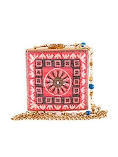 Pink Faux Leathersuede  Japanese Glass Beadwork Brass Metal Clutch - By
