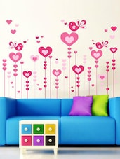 Pink Hearts And Birds  Vinyl Sticker - WallDana
