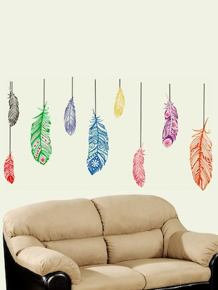 Feathers Hanging Backdrop Wall Sticker -  online shopping for Wall Decals & Stickers