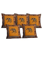 Brown Cotton Set Of 5 Cushion Cover - By