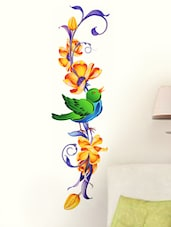 Vertical Floral Design & Bird Wall Sticker - WallDana