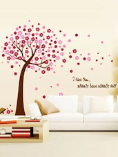 Love Tree Pink Blowing Leaves Wall Sticker - WallDana