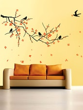 Nature Black Branch With Flowers Wall Sticker - WallDana