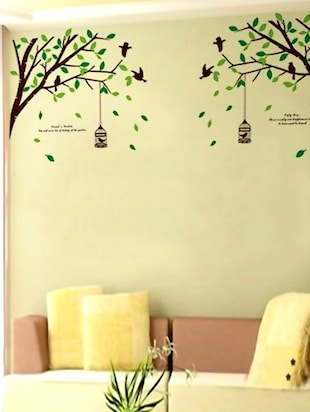 Birds & Cage On Tree Wall Sticker -  online shopping for Wall Decals & Stickers