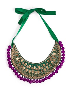 Gold Gota Patti Bib Necklace In Green And Purple - Xx Syndrome