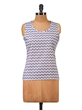 Round Neck Chevron Print Tops - Hypernation