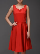 Solid Red Chiffon Skater Dress - Eavan