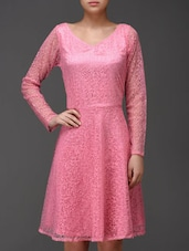 Solid Pink Flared Dress - Eavan