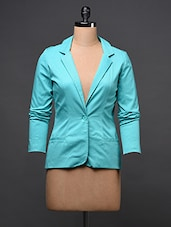 Blue Full Sleeve Plain Solid Blazer - Eavan