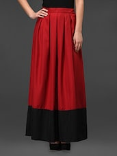 Red Poly Crepe Long Skirt - Eavan