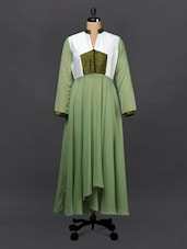 Silk Yoke With Georgette Flare Dress - Sugar Her