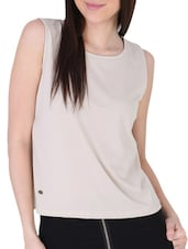 Beige Back Cut Out  Knit Top - Sugar Her