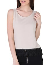 White Hem Lace Sleeveless Knit Top - Sugar Her
