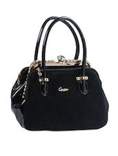 Black Textured Embellished Handbag - Alonzo