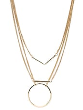 Gold Alloy Long  Necklace - By