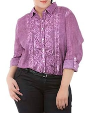 Purple Cotton Full Sleeve Shirt - LastInch