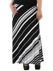 Monochrome Polyester Striped Skirt - By
