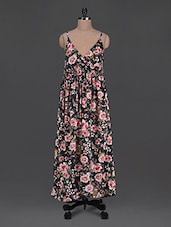 Floral Printed Poly Crepe Maxi Dress - Citypret