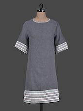 Grey Cotton  Shift Dress - Citypret