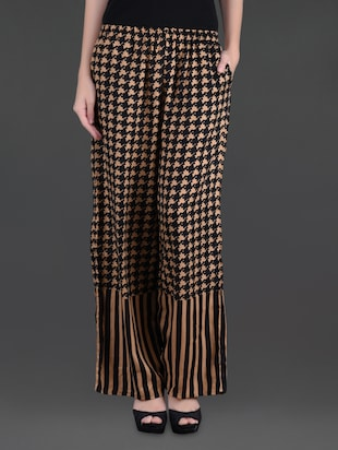 Black and beige printed viscose palazzos -  online shopping for Palazzos