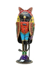 Craft Rajasthani Handicraft Aluminium / Metal Traditional Gentlemen Cat With Stick Figurine 15 Inch - By
