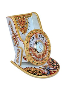 Buy craft traditional rajasthani handicraft marble analog for Traditional wall clocks india