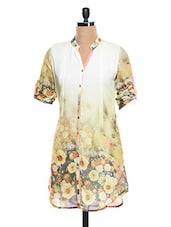 Mandarin Collar Floral Georgette Kurti - KAJJALI